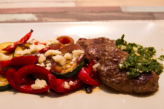 Chimicurri tenderloin steak with goat cheese & grilled vegetables - Chefbag