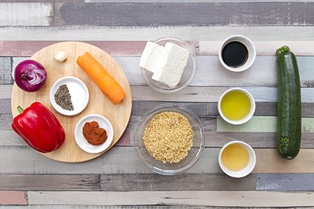 Chefbag - Feta sajttal töltött paprika sült zöldséges bulgurral