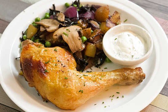 Roasted chicken leg with spring vegetable sauté - Chefbag