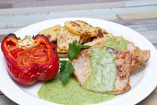 Serpenyős karaj zöld salsával - Chefbag