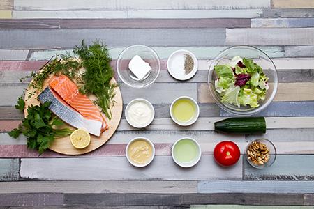 Fetasajtos lazac diós salátával - Chefbag ételcsomagok